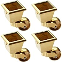 Metal Swivel Casters Wheels,Brass Castors,Square Furniture Caster,Load 440 Lbs,For Piano Coffee Table Sofa