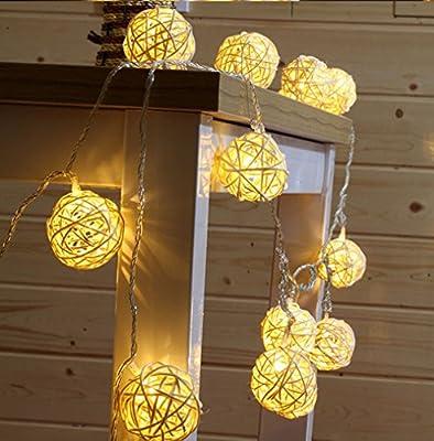 9.8 Feet 20 Rattan Ball Fairy String Lights Plug in, Flexible Romantic Warm Lighting for Home Decor (Warm white)