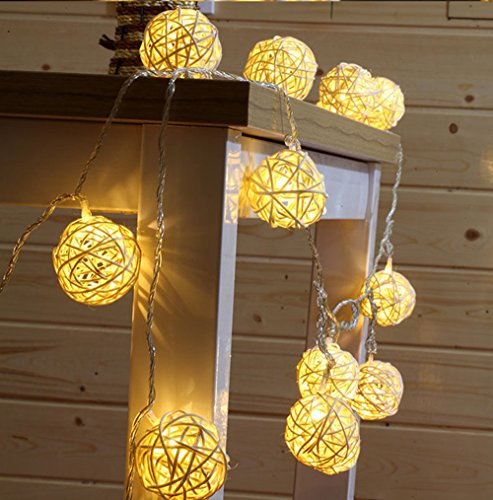 9.8 Feet 20 Rattan Ball Fairy String Lights Plug in, Flexible Romantic Warm Lighting for Home Decor (Warm white) (Bed White Rattan French)