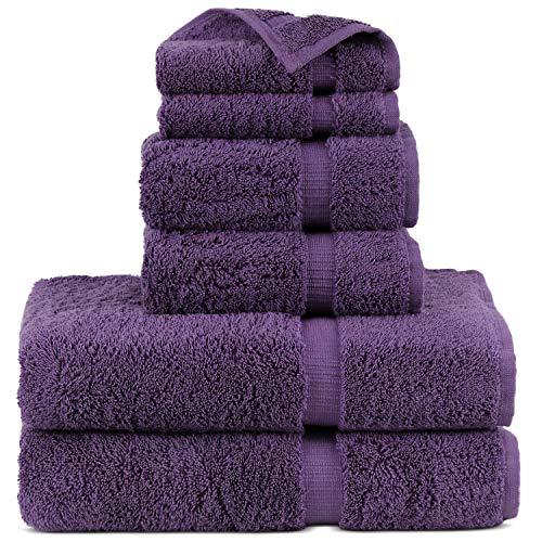 Indulge Linen Dobby Border Towel Sets (Purple, Towel Set - 6 Piece)