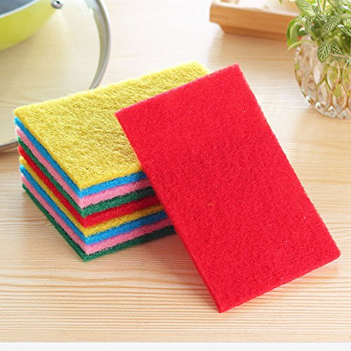 FRCOLT 10PCs New Kitchen Home Good Cleaner Scouring Scour Scrub Cleaning Pads Random Color (10 Pieces, Random Color) by FRC0LT (Image #1)