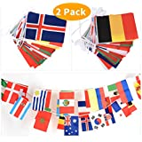 """CWLAKON 2018 World Cup Flags Banner-36Ft,11.8"""" x 7.9""""Large Size(2Pack) for Football Night,Sports Clubs,Restaurants,Bar Party and World Cup Decorations"""