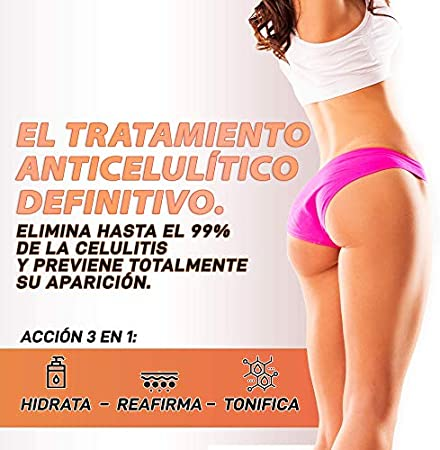 Gel Anticelulítico, Reductor y Reafirmante Intensivo | Elimina la celulitis y la piel de naranja | Reafirma, tonifica e hidrata la piel | Fórmula adelgazante | Reduce la grasa localizada | Gel 200ml