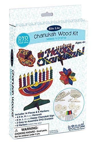 Chanukah Wood Craft Kit - Hanukkah Gift - Menorah & Dreidel