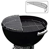 """Kettle Kommander The Original 22.5"""" Stainless Steel Warming/Grilling/Smoking Expansion Rack Grate- For Use with Weber 22/22.5 Inch Kettle Grill- Charcoal Grilling Accessory for BBQ Cooking- Cool Present for Him"""