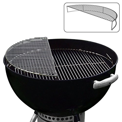 "22.5"" Stainless Steel Warming / Grilling / Smoking Expansion Rack Grate- For Use with Weber 22 / 22.5 Inch Kettle Grill- Charcoal Grilling Accessory for BBQ Cooking- Cool Present for Him"
