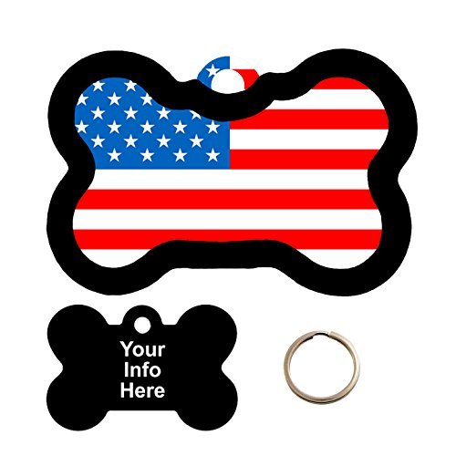 American Pet Tags - Customized American Flag Pet Tag - Bone Shape Dog Tag