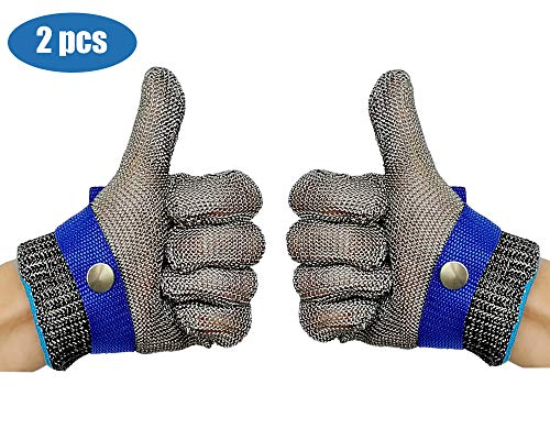 Schwer Cut Resistant Gloves-Stainless Steel Wire Metal Mesh Butcher Safety Work Glove for Meat Cutting, fishing(Large, 2 pcs) (Butchers Stainless Steel Glove)