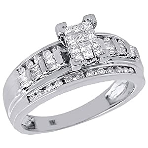 10K White Gold Princess, Round, & Baguette Cut Diamond Rectangle Engagement Ring 0.50 Cttw