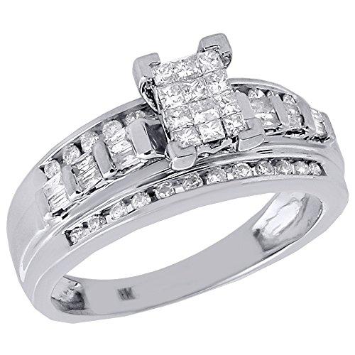 (10K White Gold Princess, Round, & Baguette Cut Diamond Rectangle Engagement Ring 0.50 Cttw)
