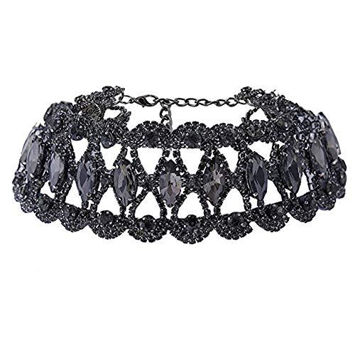 NABROJ Black Rhinestone Choker Shiny Collar Necklace with Black Chain for Women Costume Jewelry 1 PC with Gift Box-HL21 Black