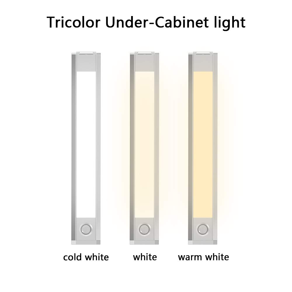 Kingshalor Under Cabinet Lighting, 60 LED Closet Light Motion Sensor Magnetic Stick White,Warm,Cold White Night Light Wireless Build in USB Rechargeable Battery, for Wardrobe,Hallway,Stairs 1 Pack