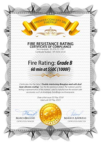 Certified Fireproof Bag for Documents, Money, Office Files & Memory Cards - Both Fire and Water Resistant, Ideal for Evacuation and Emergencies - 100% Fire Protected Zipper, Patent Pending by QIAYA (Image #1)'