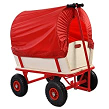 Goplus?? Children Kids Toys Cart Wagon Stroller Outdoor w/ Wood Railing & Red Covered New by Goplus