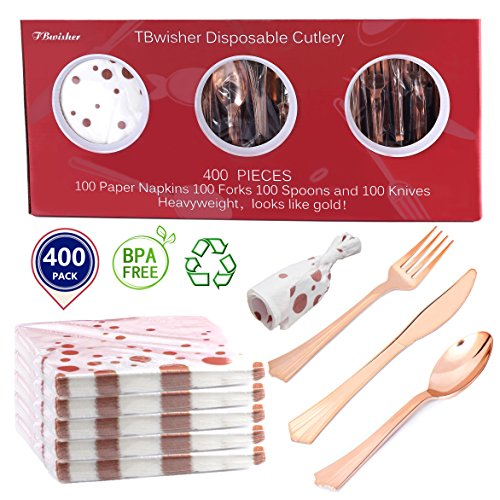 Tbwisher Rose Gold Plastic Silverware, 400 pcs Party Supplies Plastic Flatware, Disposable Plastic Cutlery