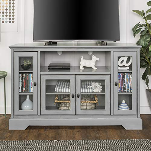 WE Furniture AZ52C32AGY Traditional Wood Stand for TV's up to 56' Living Room Storage, Grey