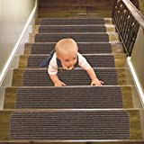 "14 Pack-(8""x30""),Stair Treads Carpet Indoor, Anti Slip Stair Mats Collection, Skid Resistant Rubber Backing for Child Proofing/Pet Safety/Elderly Safety, Brown"