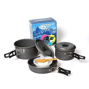 LLDHWX Juego de Utensilios de Cocina para Acampar, 8PCS Juego de ollas y sartenes portátiles