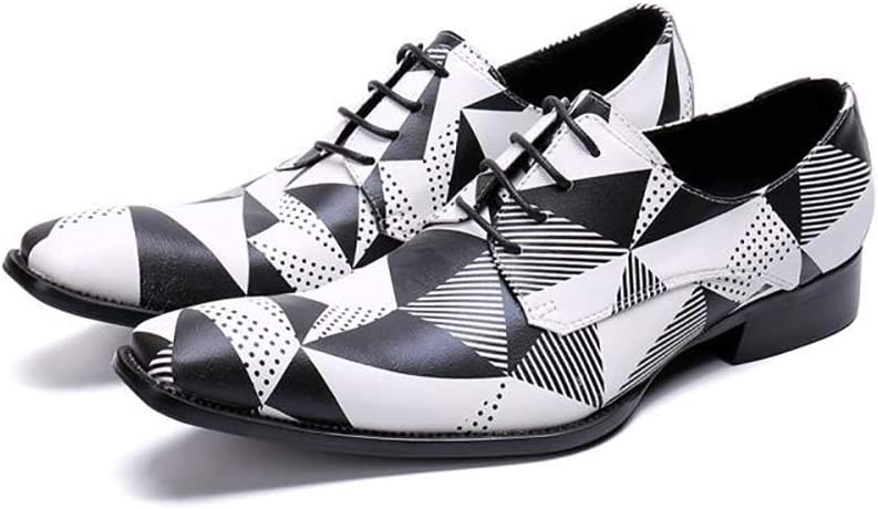 Formelle Schuhe, Jugend Trend Kleid Business l&au ;ssig atmungsaktiv schwarz und weiß Quadrat Spitzen Schuhen, geeignet f&uu ;r Partyhochzeitsnacht Tanz