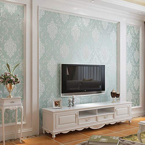 QIHANG European Style Luxury 3D Damask Pearl Powder Non-Woven Wallpaper Roll Light Blue Color 0.53m x 10m=5.3㎡