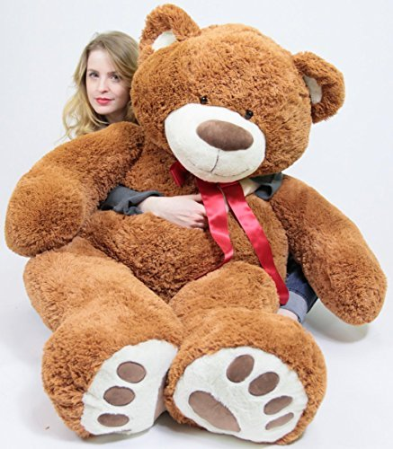 5 Foot Very Big Smiling Teddy Bear Five Feet Tall Cookie Dough Brown Color with Bigfoot Paws Giant Stuffed Animal Bear]()