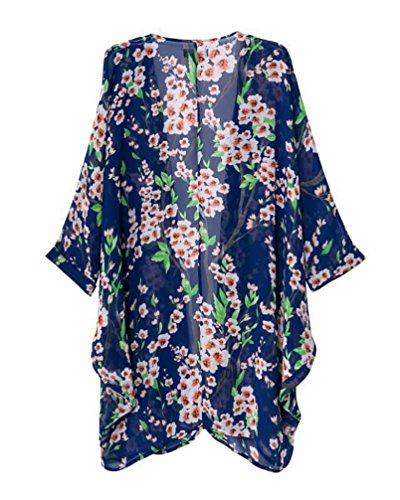 Classiche 4 La Estate Floreale Donna Blu Unique Chiffon Stampato Boho Coprono 3 Camicetta Spiaggia Manica Bikini Mare Cardigan Cover Kimono Copricostume Vintage Up 5OXwxqU