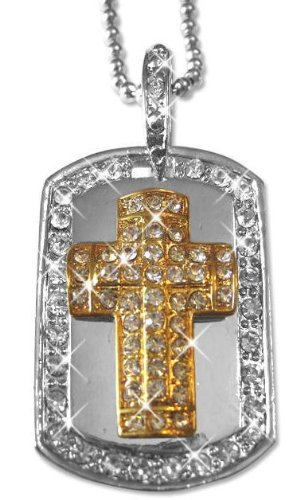 Hip Hop Iced Out Diamond Two-Tone Dog Tag Pendant Chain Necklace (Cross)