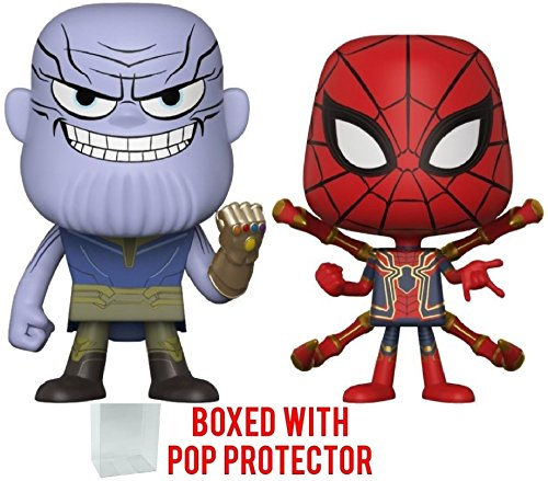 Funko Vynl: Marvel Comics - Avengers Infinity War - Thanos and Iron Spider Vinyl Figures (Bundled with Pop Box Protector Case)