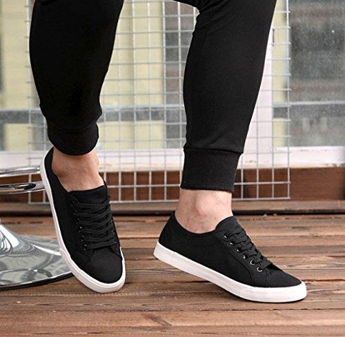 uomo e in tela scarpe nero scarpe bianco uomo stoffa bianche da scarpe Scarpe scarpe scarpe selvaggi XFF di casual scarpe bianche Nero da di qO04EfZ7