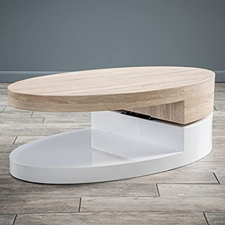 Amazoncom Emerson Large Oval Mod Swivel Coffee Table Kitchen