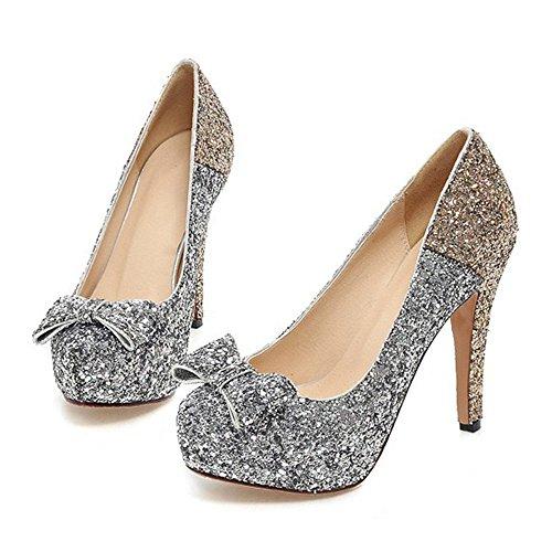 Paillette Bowknot Platform Sexy High Heel Shoes golden 39 - Paillette High Heel