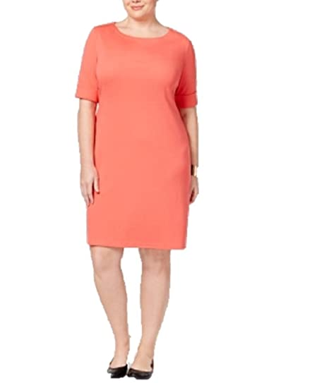 04acd239b0b Image Unavailable. Image not available for. Color  Karen Scott Plus Size  Elbow-Sleeve T-Shirt Dress 2x