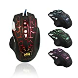 Image of QERY Gaming Mouse, Ergonomic USB Wired Gaming Mouse Mice with 3200 DPI Adjustable High Precision 8 Button LED Optical for Laptop PC Computer Gamer, Comfortable Grip