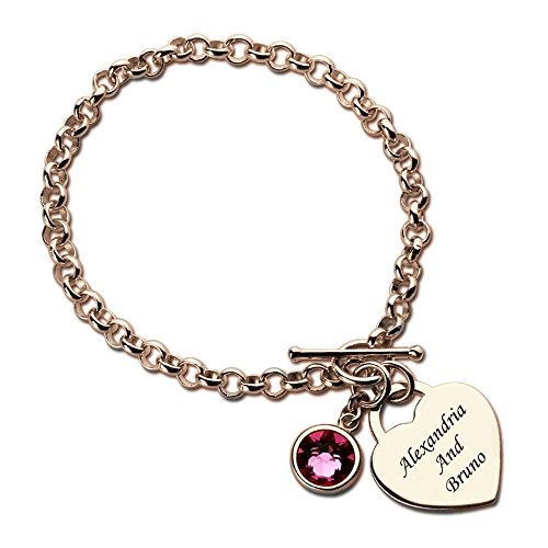 Engraved Names Charm Bracelet Personalized Heart With Birthstone Bracelet Nameplate Bracelet Love Jewelry (rose-gold-plated-base - Co Tiffany Online & Shopping