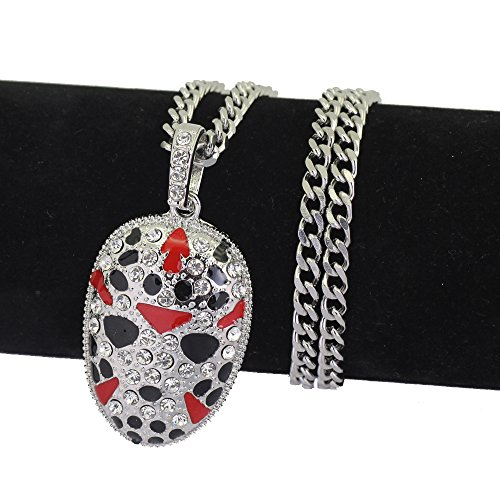 Hip Hop Mens Iced Out Peking Opera Mask Pendant Necklace Cuban Chain, 30 inches (Silver) by Angelcrab