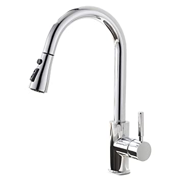 GLANZHAUS Modern Commercial Chrome Spring Pull Down Sprayer Kitchen Tap,Single Handle Kitchen Sink Tap with Hot&Cold Hose Bar Taps