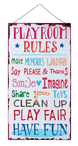 Kids Room Playroom Rules Hanging Wall Plaque Sign for Kid Room, Nursery, Classroom, Church and (Rules Wall Hanging)