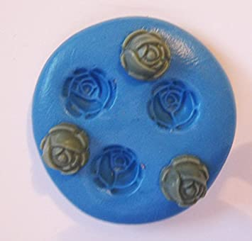 3 flores Flexible empuje molde de silicona para arcilla polimérica, resina, cera, comida en miniatura, dulces, yeso: Amazon.es: Hogar