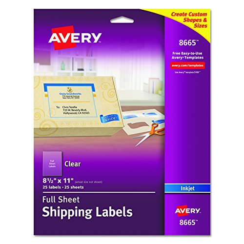 Avery Clear Full-Sheet Shipping Labels for Inkjet Printers 8-1/2