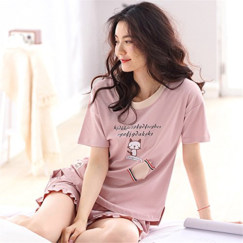 Pigiami Pigiami Donna T Comodo Pantaloncini due Sexy Estive pezzi Maglia Pigiama Gattino da Corte Maniche Sportive Rosa Camicie Ragazzi Adorabile Cotone DaBag notte Shirt 8UnXtqwqx