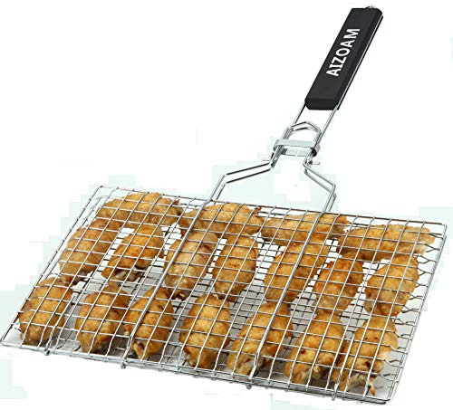 Stainless Steel Grill Basket - AIZOAM Portable Stainless Steel BBQ Barbecue Grilling Basket for Fish,Vegetables, Steak,Shrimp, Chops and Many Other Food .Great and Useful BBQ Tool.-【Bonus an Additional Sauce Brush】.