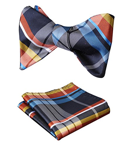 HISDERN Men's Check Plaid Bowtie Formal Tuxedo Self-Tie Bow Tie and Pocket Square Set Blue