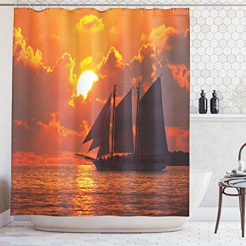 48'' x 72'' Shower Curtain with Hooks, A Sail Boat Sailing in Front of a Sunset in Key West Florida Sundown Tropical - Waterproof Polyester Cloth Bath Curtains Sets for Bathroom Decoration (Key Fabrics West Tropical)