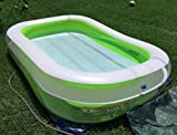 Plastic Kiddie Pool Large Water Portable Adults Family Inflatable Toy Play With Umbrella Lightweight Plastic Rectangle Beige & e-book by Amglobalsupplies