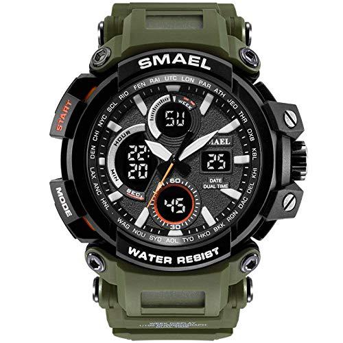 Chaolo Men's Mechanical Watch Men's Sports Analog Digital Quartz Military Watch Waterproof Luxury Multifunction Large Dial Wrist Watch for Men LED Digital Quartz Wrist Watch 1545 Army Green