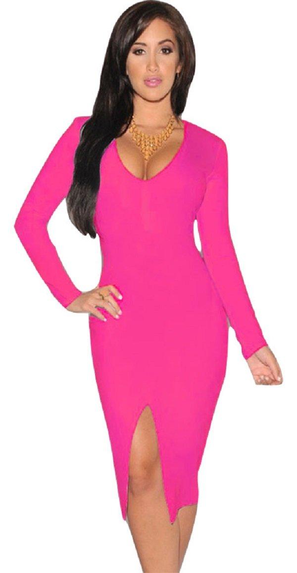Da donna, colore: Rosa a manica lunga Low Cut Bodycon mini vestito da sera Abito da cocktail Cruise ...