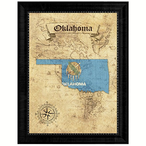 Oklahoma State Vintage Map Flag Canvas Print