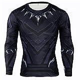HIMIC E77C Hot Movie Super Hero Quick-Drying ElasticT-Shirt Costume (Medium, Black Panther Long Sleeve)