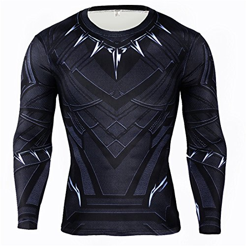 HIMIC E77C Hot Movie Super Hero Quick-Drying Elastic T-Shirt Costume (XX-Large, Black Panther Long Sleeve) -