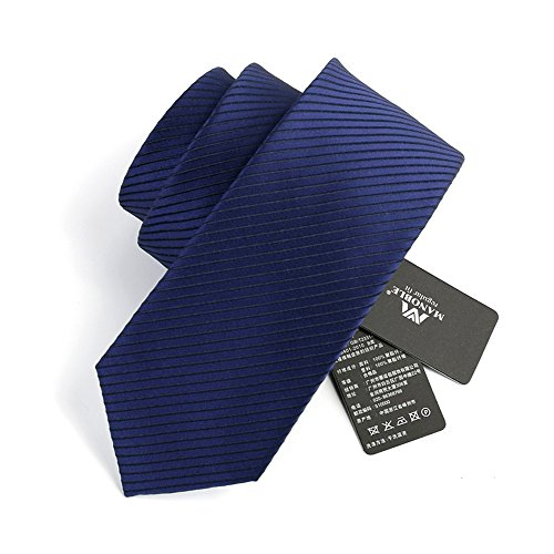 (Manoble Men's Striped Necktie Navy Blue 2.75 Inches Jacquard Woven Tie + Gift)